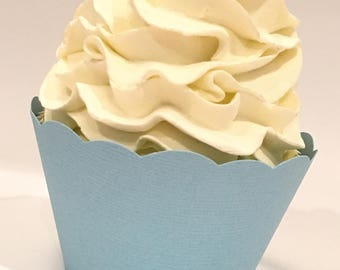 Blue Cupcake Wrappers, Tranquil Blue, Pale Blue