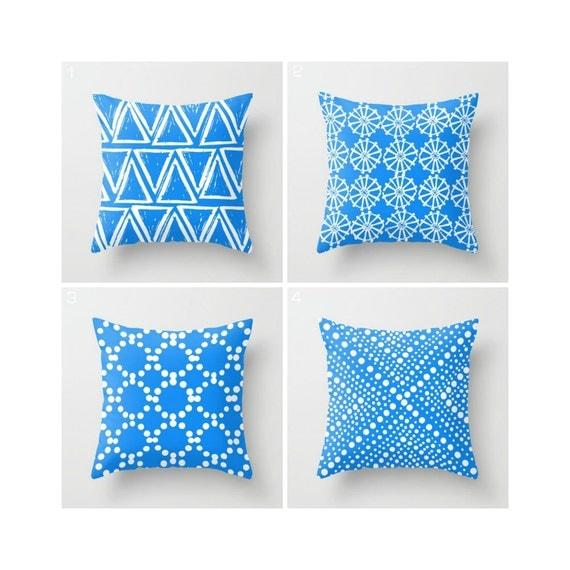 Sky Blue Throw Pillow - Modern Throw Pillow - Blue Cushion - Geometric Pillow - Blue White Triangle - Throw Pillow 16 18 20 24 inch