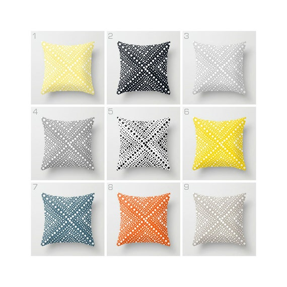 OUTDOOR Throw Pillow . Outside Pillow . Outdoor Cushion . Bolster . Modern White Lemon Yellow Grey Black Teal Orange Silver. 16 18 20 inch