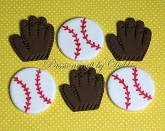 12 Fondant edible cupcake toppers - Baseball ball and Mitt