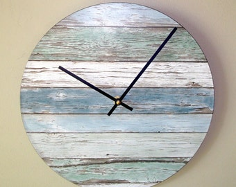 "SILENT ""Wood"" Image Wall Clock, 10 or 12 Inch Beachy Blue and Green Wall Clock, Unique Wall Clock (NOT Real Wood) - 2266"