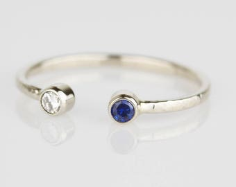 White Diamond and Blue Sapphire Modern Toi et Moi Ring - Solid 14k Gold - 14k White or Rose or Yellow Gold Dual Stone Ring - April September