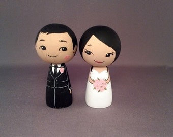 Kiss on Cheek Asian Wedding Cake Toppers Finished Ready to Send