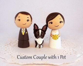Custom Cake Toppers One Pet  Bride Groom Pet Kokeshi doll cake toppers