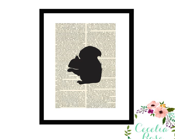 Squirrel Book Art Vintage Book Art Cute Simple Box Frame or Print