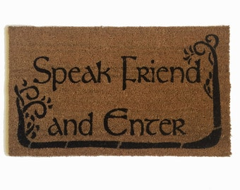 Tolkien - Speak Friend and Enter- with TREES geek nerd nerdy doormat eco friendly outdoor