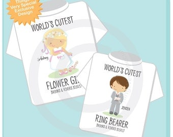 Flower Girl, Ring Bearer Set of Two, Personalized Flower Girl Shirt, and Ring Bearer Shirt or Onesie with date (01302017c)