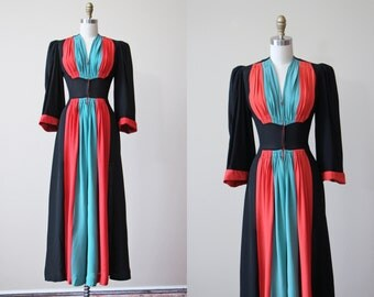 R e s e r v e d 30s Gown - Vintage 1930s Color Blocked Black Coral Turquoise Rayon Dressing Gown S - Elite Set House Dress
