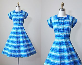 Vintage 1950s Dress - 50s Dress - Blue & Olive Daisy Floral Rhinestone Cotton Full Skirt Sundress M L - Sunday Morning All Day Long
