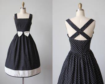 80s Dress - Vintage 1970s 1980s Dress - Black White Polka Dot Full Skirt Cotton Princess Sundress by Lanz M - Dapper Day Dress