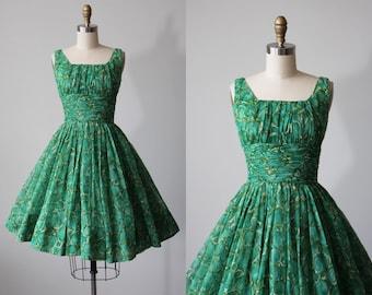 R e s e r v e d 50s Dress - Vintage 1950s Dress - Green Novelty Print Chiffon Prom Party Dress XS - Apple Picking Dress
