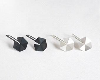 Geometric Sterling Silver Earrings, Geometric Drop Earrings, Hexagon Drop Earrings, Silver Hook Earrings, Minimalist Silver Earrings