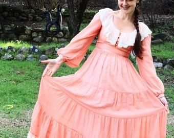Apricot Blossom - Gorgeous Vintage Maxi Dress Flowy Boho Bohemian Hippie Folk Victorian Lace Collar Peach Gauzy Semi Sheer 1970s Small S