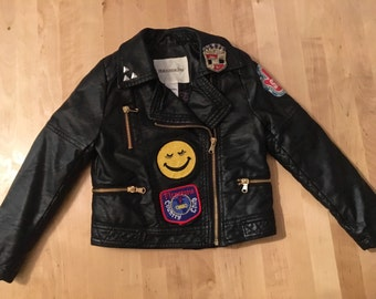 kids faux leather moto jacket with vintage patches