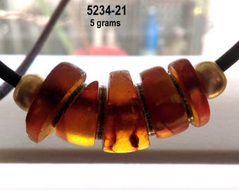 Antique Amber Disc Beads,  Honey & Cognac Color, on Thongs, 5234