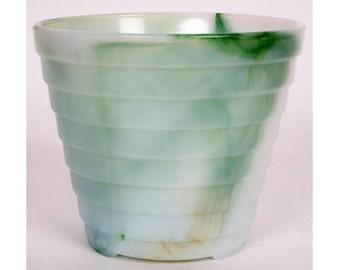 Vintage AKRO AGATE Slag Glass Planter - Flower Pot - Stacked Disc - Marbleized - Depression Era