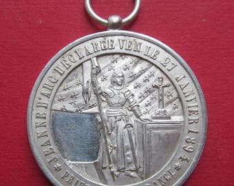 Venerable Joan Of Arc Silver Vatican Religious Medal Pope Leo XIII Pendant Signed Sirletti  Dated 1897 SS502