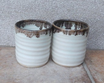 Pair of whisky shot or espresso coffee cups in stoneware hand thrown ceramic pottery wheelthrown handmade