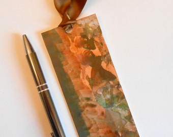 Hand Painted Artsy Bookmark Brown Tan Green