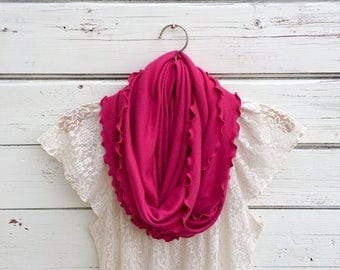 Raspberry Pink Infinity Scarf with Ruffles, Gift Idea for Her, Circle Scarf, Summer Scarf, Dark Pink Scarf