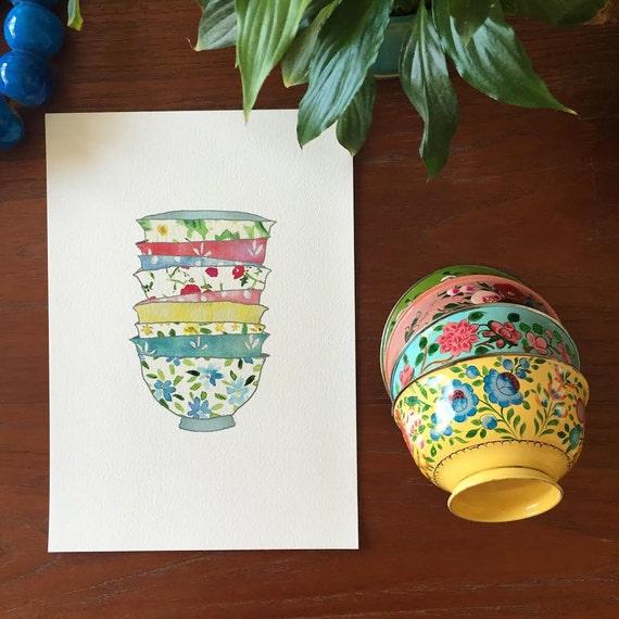 Kitchen art/ bowls art print/ Stack of Bowls art print/ Retro floral Bowls print/ Bowls illustration/ kitchen decor/ mothers day