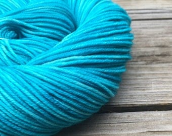 Hand Dyed DK Yarn Mermaid's Curse Turquoise Teal Hand Painted yarn 274 yards handdyed dk sport weight Superwash Merino Wool swm blue green