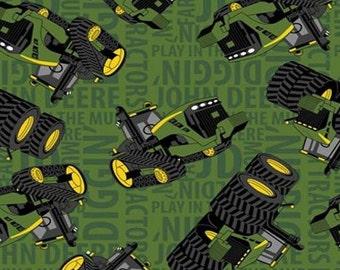 SALE! John Deere FLEECE Fabric - Green Text - By the Yard