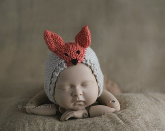 Newborn Fox Hat, Fox Hat, Photo Prop Fox, Animal Hat for Kids