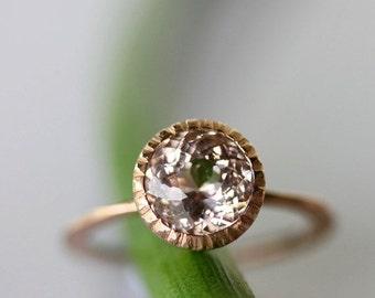Holidays Sale - Morganite 14K Gold Engagement Ring, Gemstone Ring, Stacking RIng, Milgrain Inspired, Eco Friendly - Made To Order
