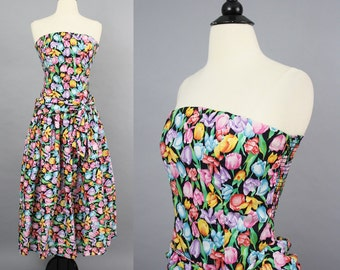 vintage 80s Tulip Print Strapless Cotton Dress / 1980s Colorful Floral Smocked Full Skirt Midi Party Dress / Medium Large