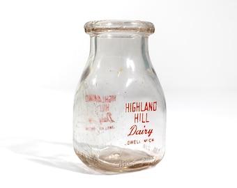 Vintage Half Pint Glass Milk Bottle - Highland Hill Dairy - Lowell, Michigan