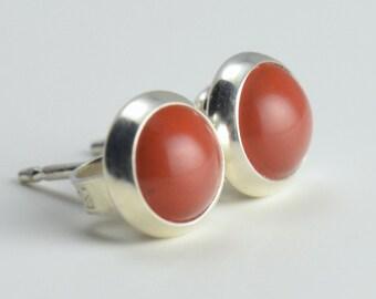 red jasper 6mm sterling silver stud earrings pair