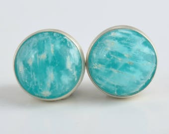 amazonite 6mm sterling silver stud earrings