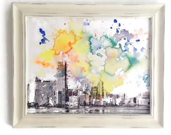 Miami Cityscape Skyline Landscape Painting - Original 11 x 14 in. Watercolor Painting