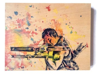 Wood Panel Daryl Dixon from The Walking Dead Art Print from Original Watercolor Painting on Wood Walking Dead Print On Wood Panel