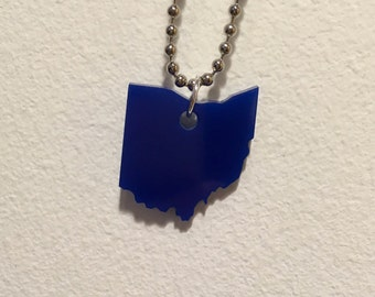 Ohio Necklace, Small Dark Blue Acrylic State
