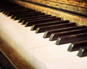 Aged Keys, piano keys, worn, aged, music, Fine Art Photograph, 8x12