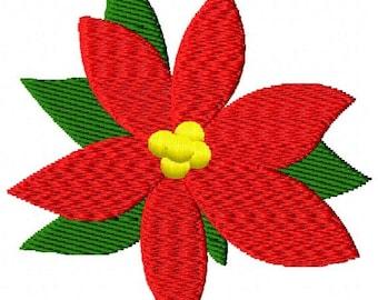 Poinsettia Flower Machine Embroidery Mini Design