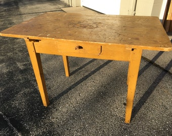 Primitive Farm Kitchen Table Mustard Paint Turned Legs 45w30d23.5h30h Shipping is not free