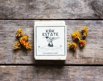 Unscented with calendula petals, Hummingbird, large bar, handmade, cold process soap, sensitive skin, dry skin, face soap, herbal soap