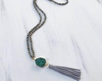Beaded Tassel Necklace with Dalmatian Jasper Beads, Green Druzy Gold Dipped Charm & Gray Suede Tassel