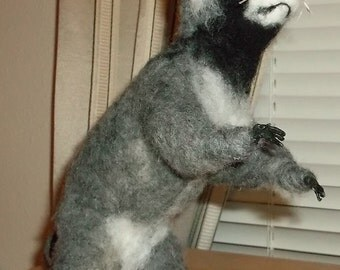 racoon needle felted sculpture