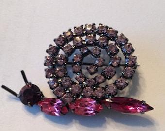 SALE Rhinestone Snail Brooch Pink Purple