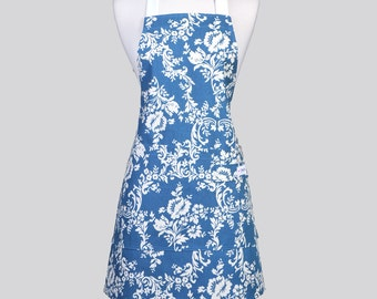 Retro Chef Apron - Dark Turquoise Blue and White Damask Washable Cotton Canvas with Adjustable Neck Full Kitchen Aprons