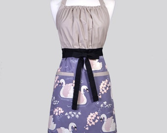 Cute Kitsch / Womens Retro Apron in Organic Ollie the Swan Vintage Style Kitchen Chef Apron Ideal Gift for Her