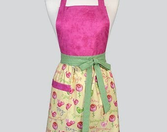 SALE Blossom Womens Full Apron . Birds and Flowers on Soft Yellow Mothers Day Cute Hostess or Wedding Apron Large Pocket