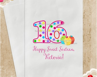 10 Pak Sweet 16 Happy BIRTHDAY Party Favor Bags / PINK  / Candy Popcorn Cookie / Cupcakes / PERSONALIZED  / 3 Day Ship