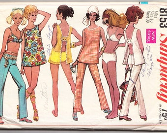 Vintage 1969 Simplicity 8153 Sewing Pattern Misses' Top, Hip-Hugger Pants and Two-Piece Bathing Suit Size 16 Bust 38