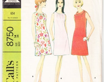 Vintage 1967 McCall's 8750 Sewing Pattern Misses' Dress in Two Versions Size 14 Bust 34