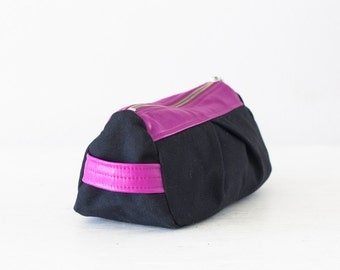 Black Cosmetic bag with pink leather, makeup case accessory bag pencil case zipper pouch zipper case - Estia Bag